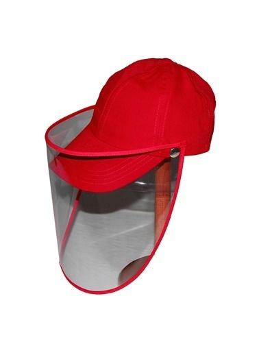 Bay Şapkacı Bay Şapkaci Koruyucu Yüz Siperli Kırmızı Şapka Kırmızı